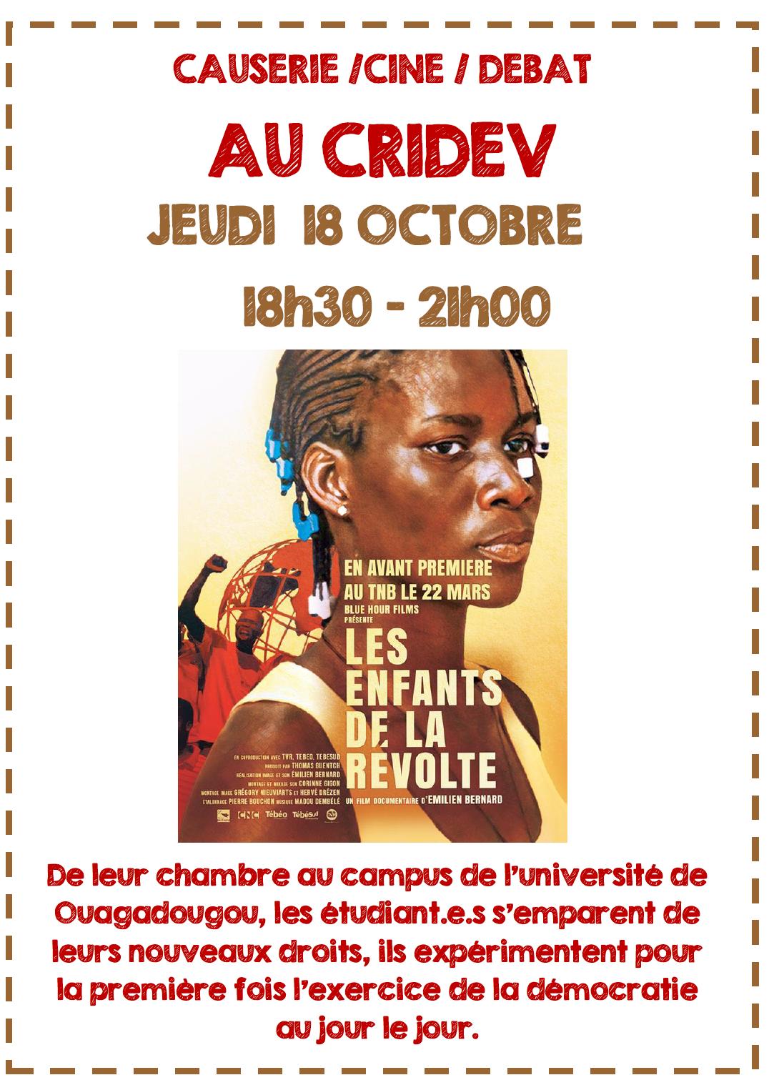 Soirée causerie/ciné/débat au CRIDEV@Rennes @ Rennes