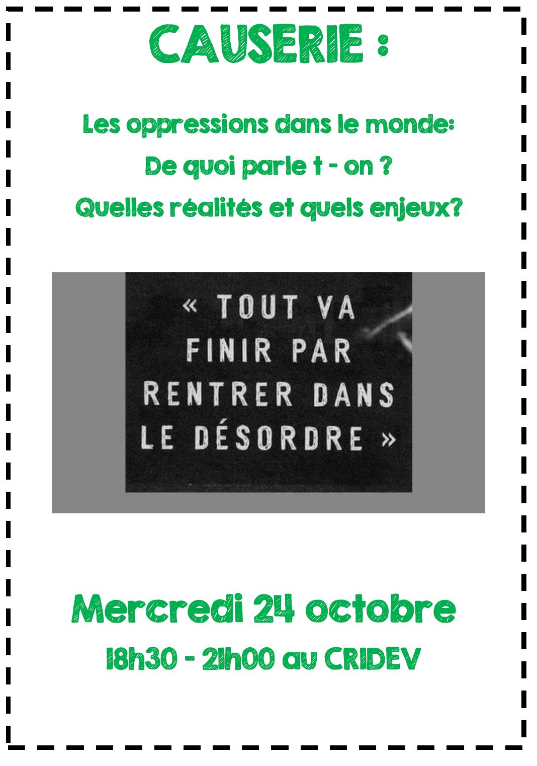 Soirée causerie au CRIDEV : les oppressions dans le monde @Rennes @ Rennes